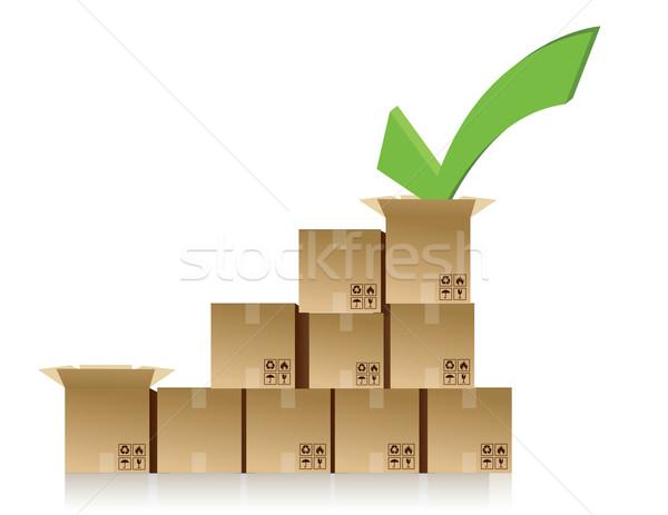 checkmark over a box graph illustration design Stock photo © alexmillos