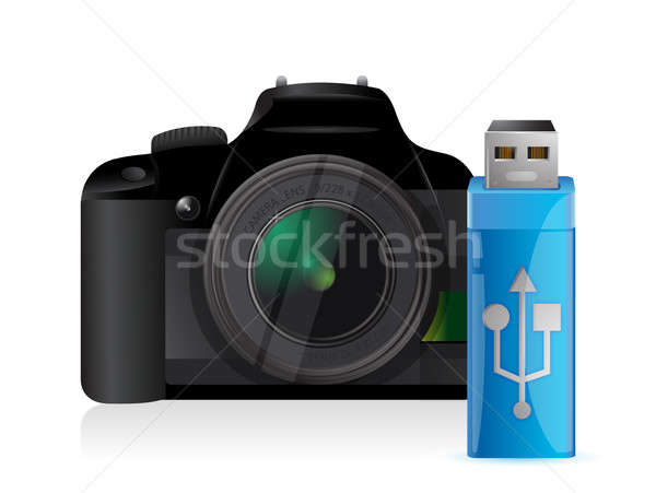 Camera and usb stick Stock photo © alexmillos