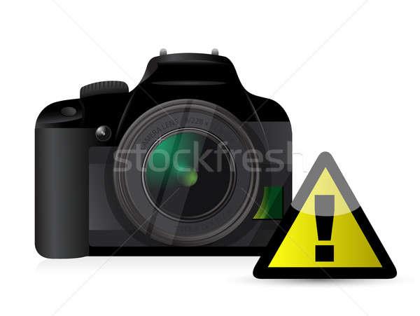 Kamera Warnzeichen Technologie schwarz Jugend Taste Stock foto © alexmillos