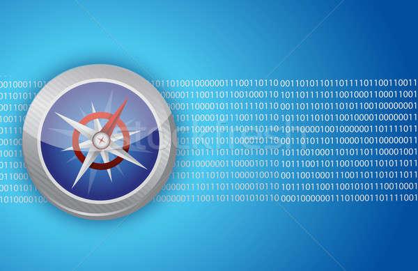 Iránytű internet hálózat útmutatás illusztráció bináris Stock fotó © alexmillos