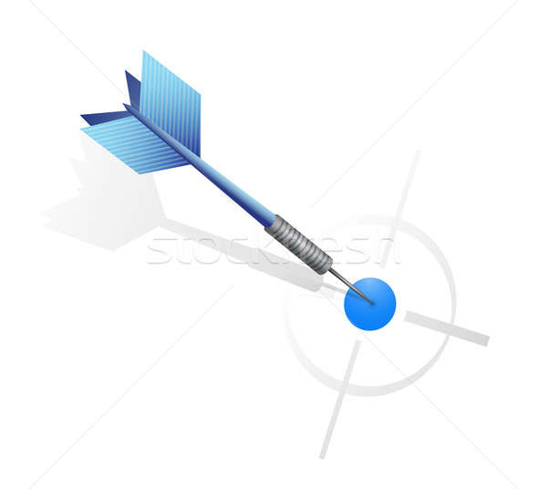 Blue dart hitting the target. illustration design  Stock photo © alexmillos