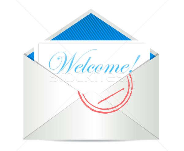 Welkom Open luchtpost envelop papier teken Stockfoto © alexmillos