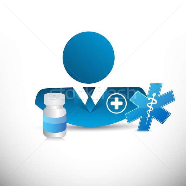 doctor, medical signs and prescription pills. Stock photo © alexmillos