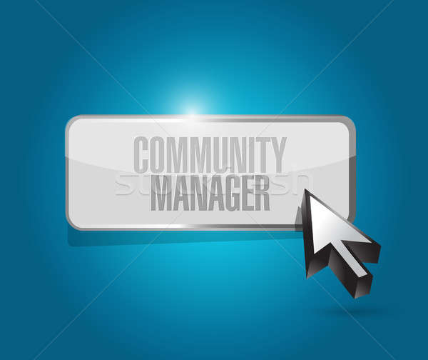 Közösség menedzser gomb felirat illusztráció terv Stock fotó © alexmillos