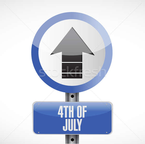4th of July road sign concept illustration Stock photo © alexmillos