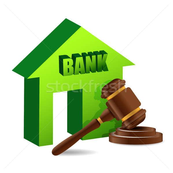 Kalapács bank illusztráció terv fehér törvény Stock fotó © alexmillos