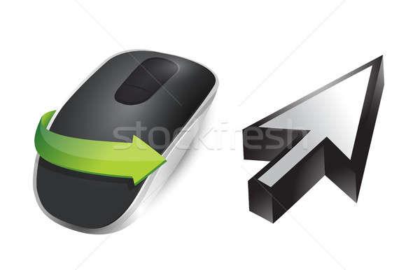 Cursor sem fio mouse de computador isolado branco mouse Foto stock © alexmillos