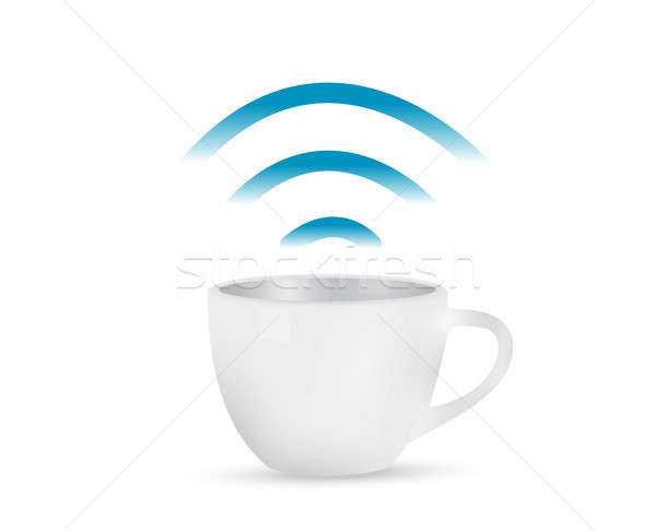 internet coffee mug concept illustration design Stock photo © alexmillos