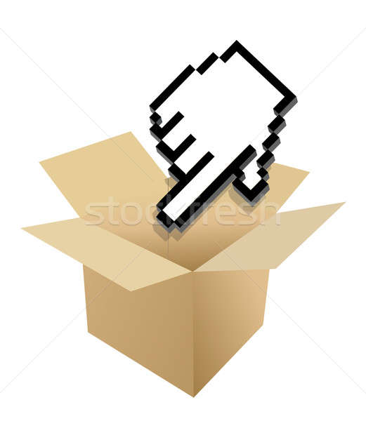 Hand Cursor and shipping box illustration over white Stock photo © alexmillos