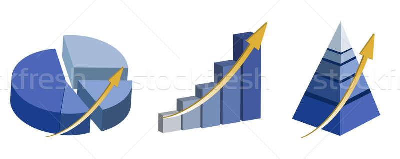 Illustration of Raising pie, pyramid and bar charts. isolated ov Stock photo © alexmillos