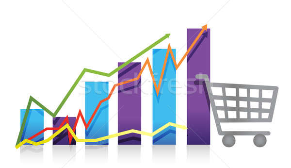 Sales growth business chart shopping cart illustration Stock photo © alexmillos