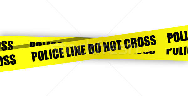 Police line do not cross. Yellow tape isolated on white backgrou Stock photo © alexmillos