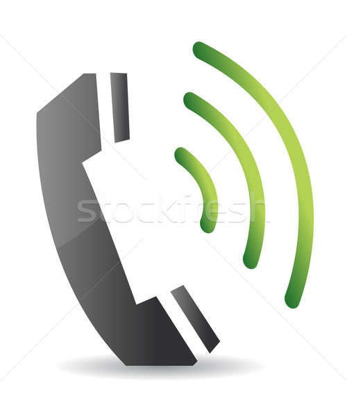 ringing phone illustration design over a white background Stock photo © alexmillos