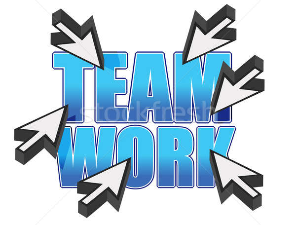 team work sign and mouse cursors over white Stock photo © alexmillos