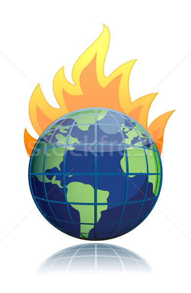 burning globe illustration design icon Stock photo © alexmillos
