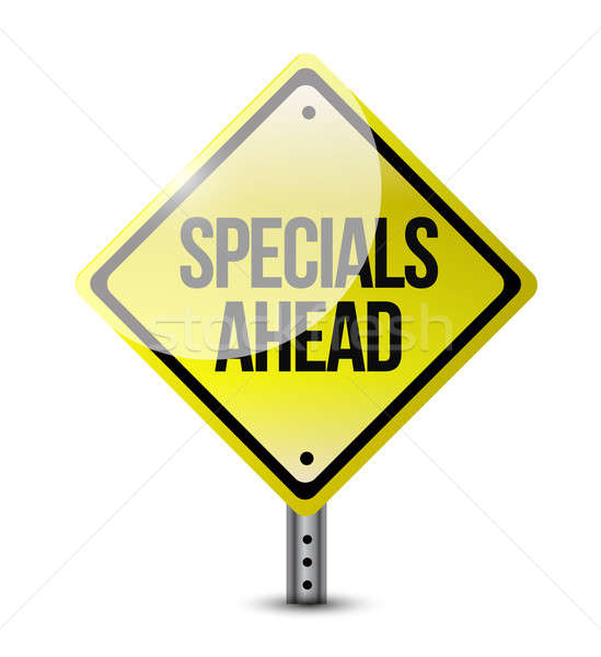 specials ahead road sign illustration design over a white backgr Stock photo © alexmillos