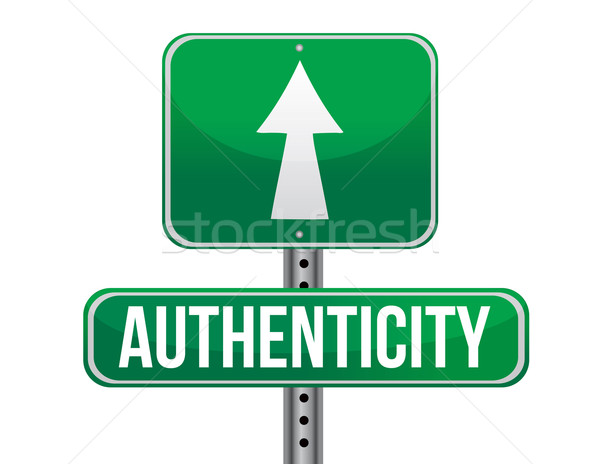 authenticity road sign illustration design over a white backgrou Stock photo © alexmillos