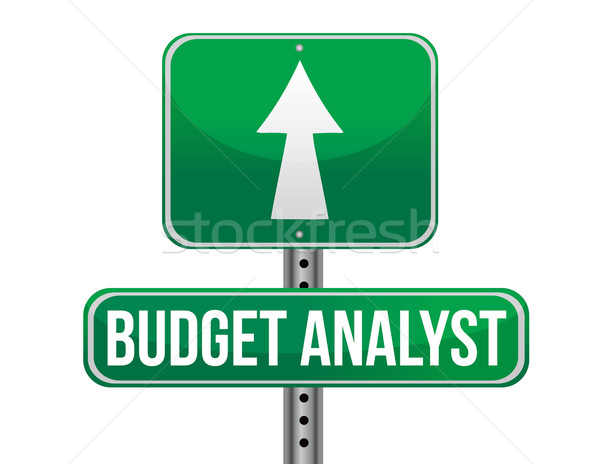 budget analyst road sign illustration design over a white backgr Stock photo © alexmillos