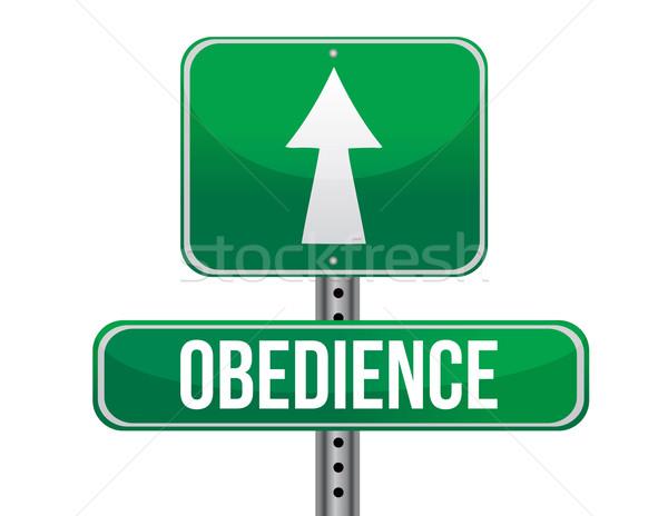 Obediencia senalización de la carretera ilustración diseno blanco calle Foto stock © alexmillos