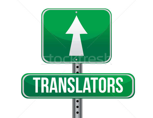 Traducteur panneau routier illustration design blanche rue Photo stock © alexmillos