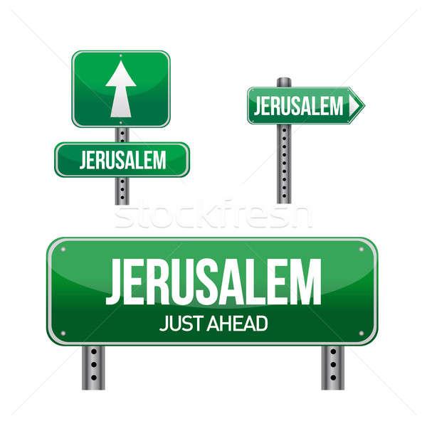 エルサレム 市 道路標識 実例 デザイン 白 ストックフォト © alexmillos