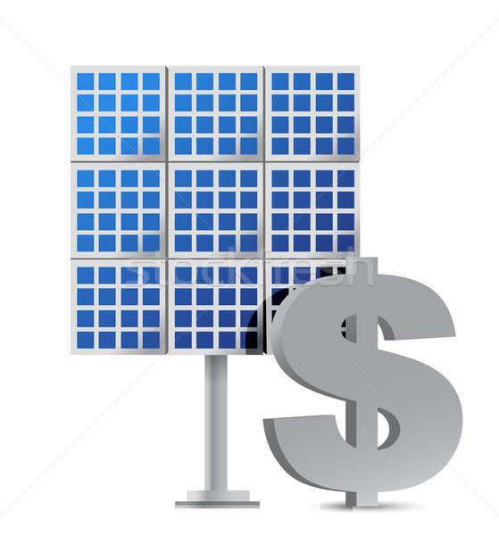 solar panel and dollar sign illustration design over white Stock photo © alexmillos