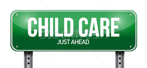 child care road sign illustration design over a white background Stock photo © alexmillos