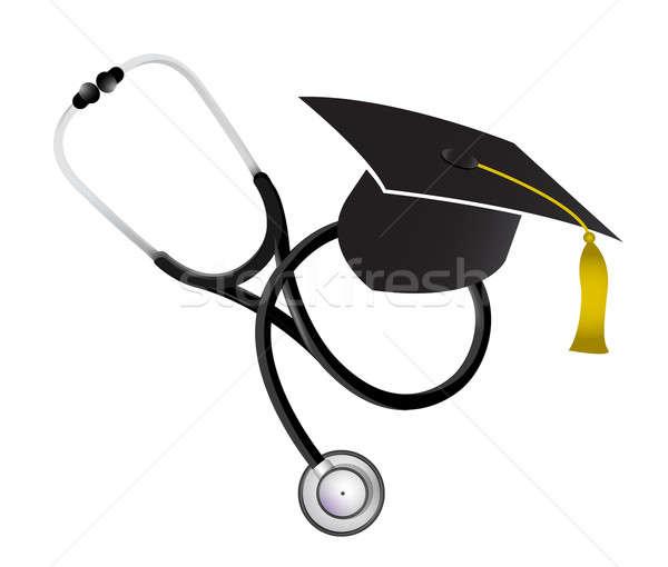 Orvosi érettségi sztetoszkóp illusztráció terv fehér Stock fotó © alexmillos