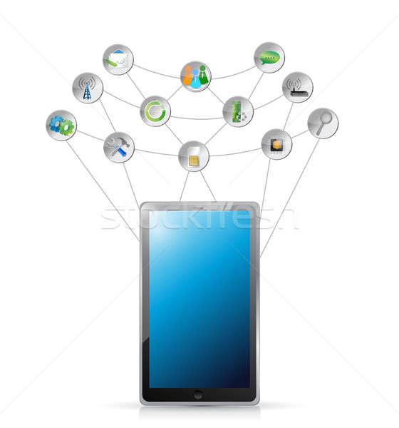 Tablet tools netwerk illustratie ontwerp witte Stockfoto © alexmillos