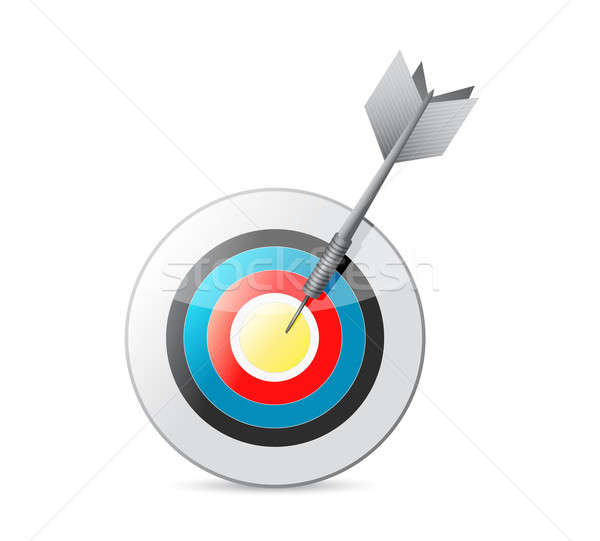 colorful bulls eye target and dart. illustration design over whi Stock photo © alexmillos