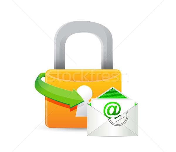 Beveiligde mail illustratie ontwerp witte web Stockfoto © alexmillos