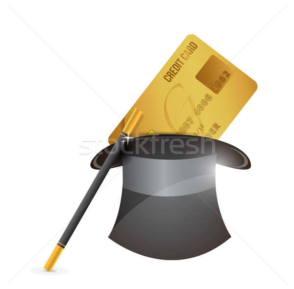 magic hat and credit card illustration design over a white backg Stock photo © alexmillos