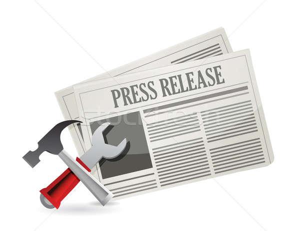 tools new press release illustration design over white Stock photo © alexmillos