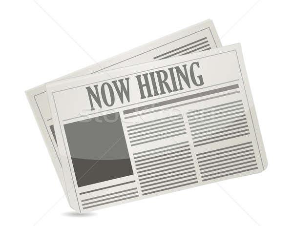 now hiring news illustration graphic design over white Stock photo © alexmillos