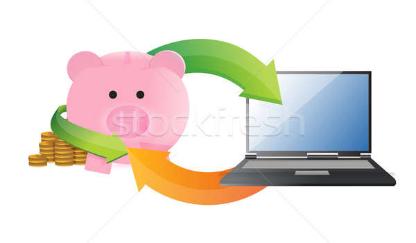 online savings management illustration design over a white backg Stock photo © alexmillos