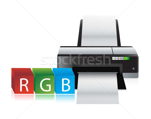 printer rgb color cubes illustration design over a white backgro Stock photo © alexmillos