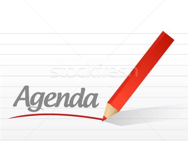 Agenda geschreven witte papier pen informatie Stockfoto © alexmillos