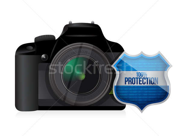 camera shield security protector illustration design over white Stock photo © alexmillos