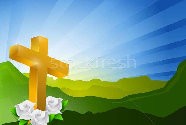 宗教 クロス 天国 風景 空 日没 ストックフォト © alexmillos