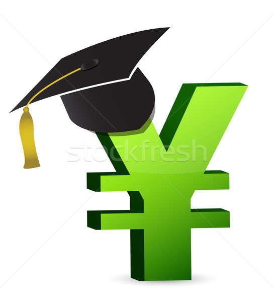 Educación costo dinero fondo signo sombrero Foto stock © alexmillos