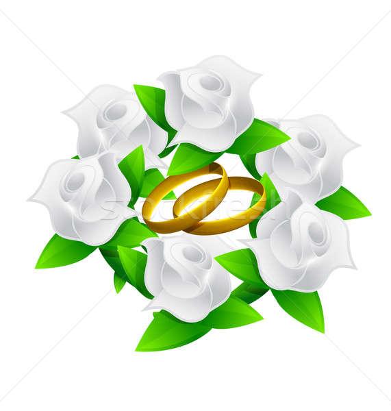 Flor anéis buquê de casamento ilustração abstrato projeto Foto stock © alexmillos