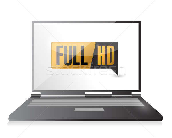 Laptop with Full HD. High definition button Stock photo © alexmillos