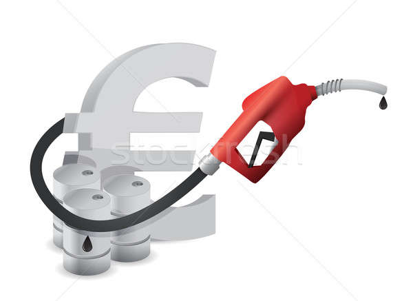 Euro sign with a gas pump nozzle Stock photo © alexmillos