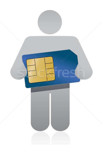 ストックフォト: アイコン · カード · 男 · 技術 · 背景