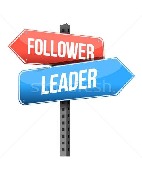 последователь лидера дорожный знак иллюстрация дизайна белый Сток-фото © alexmillos