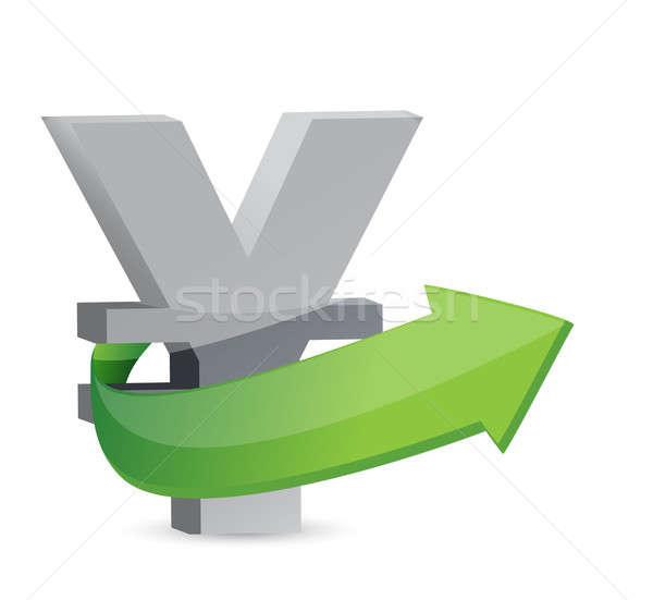 yen sign with arrow. Symbolize growth. Stock photo © alexmillos