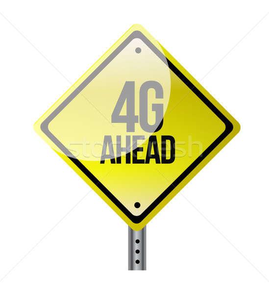 4g à frente amarelo placa sinalizadora ilustração projeto Foto stock © alexmillos