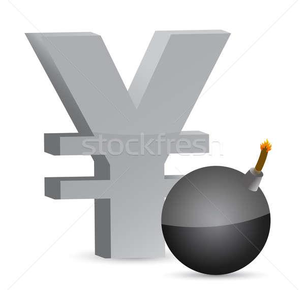 Wybuchowy jen symbol ilustracja projektu Zdjęcia stock © alexmillos
