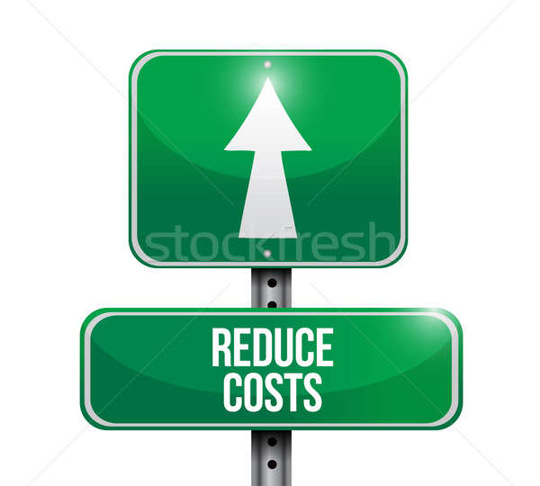 reduce costs road sign illustration design over a white backgrou Stock photo © alexmillos