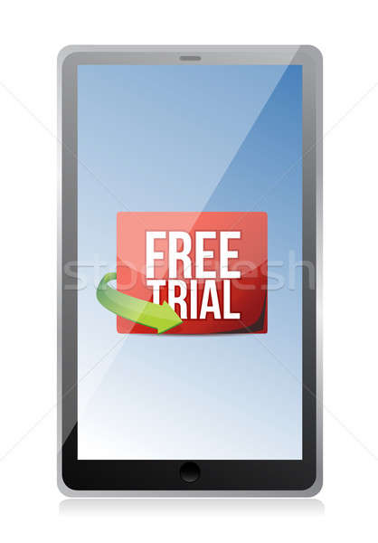 tablet free trial message illustration design over white Stock photo © alexmillos